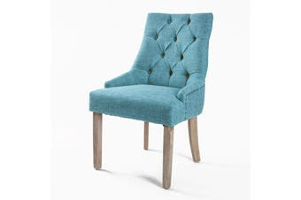 1X French Provincial Oak Leg Chair AMOUR - BLUE