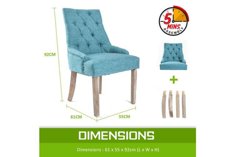 1X French Provincial Oak Leg Chair AMOUR - BLUE