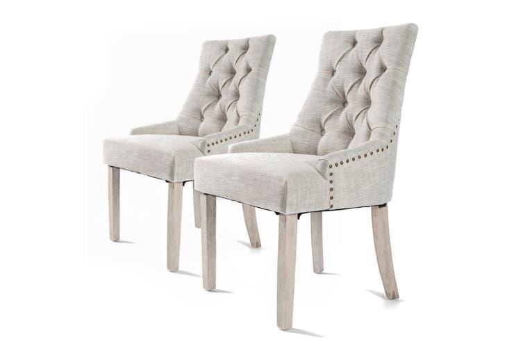 2X French Provincial Oak Leg Chair AMOUR - CREAM