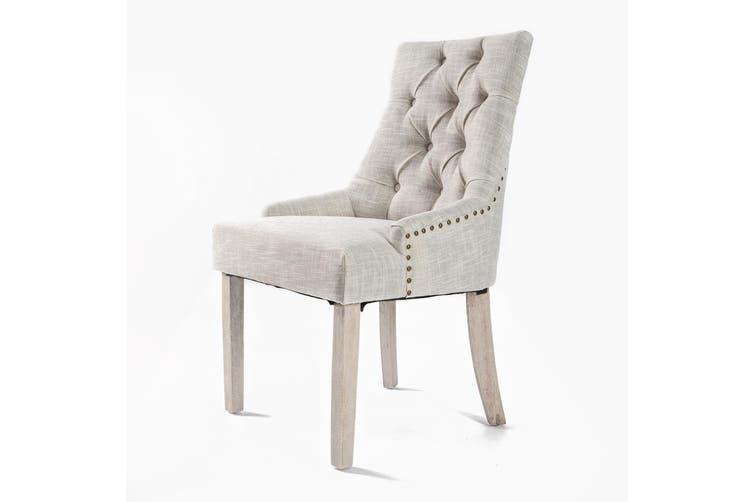 1X French Provincial Oak Leg Chair AMOUR - CREAM