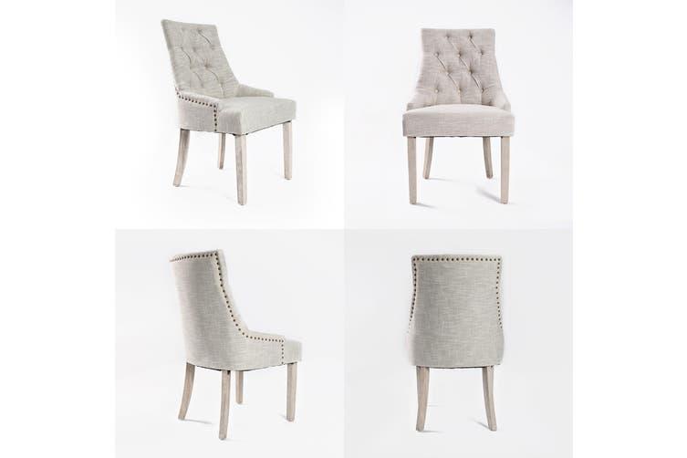 4X French Provincial Oak Leg Chair AMOUR - CREAM