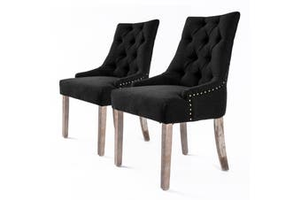 2X French Provincial Oak Leg Chair AMOUR - DARK BLACK