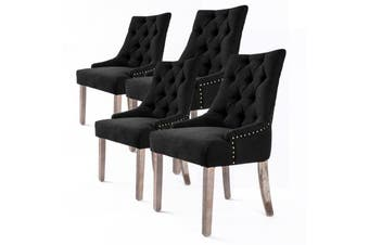 4X French Provincial Oak Leg Chair AMOUR - DARK BLACK