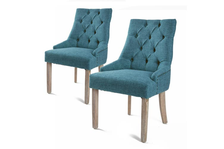 2X French Provincial Oak Leg Chair AMOUR - DARK BLUE