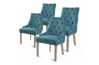 4X French Provincial Oak Leg Chair AMOUR - DARK BLUE