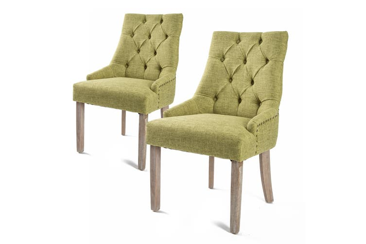 2X French Provincial Oak Leg Chair AMOUR - GREEN