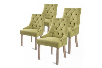 4X French Provincial Oak Leg Chair AMOUR - GREEN