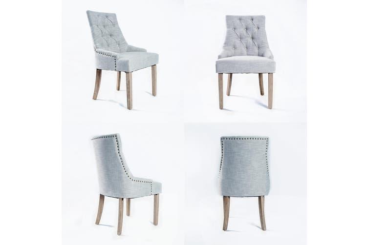 2X French Provincial Oak Leg Chair AMOUR - GREY