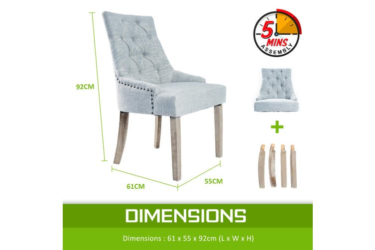 1X French Provincial Oak Leg Chair AMOUR - GREY