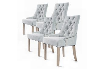 4X French Provincial Oak Leg Chair AMOUR - GREY