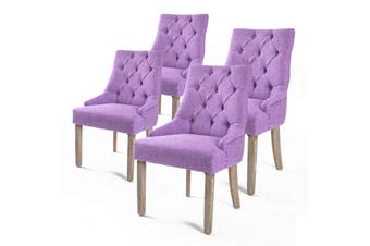 4X French Provincial Oak Leg Chair AMOUR - VIOLET