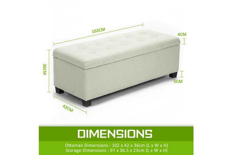 102cm Storage Ottoman Fabric - LIGHT GREEN