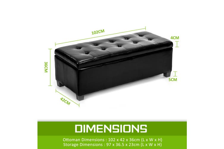 102cm Storage Ottoman Leather - BLACK