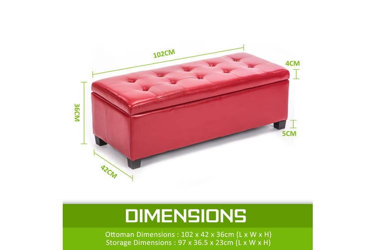 102cm Storage Ottoman Leather - RED