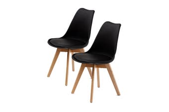 2X Padded Seat Dining Chair - BLACK