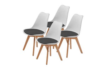 4X Padded Seat Dining Chair - WHITE + BLACK