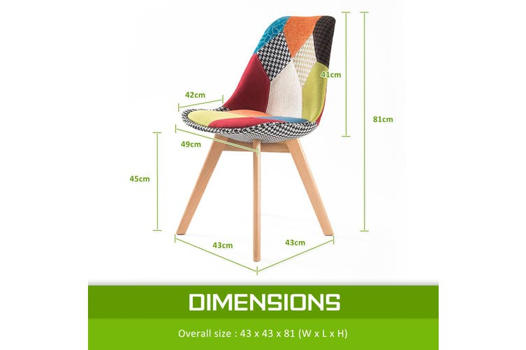 4X Padded Seat Dining Chair Fabric - MULTI