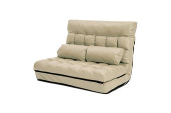 Leather Lounge Sofa Double Bed GEMINI - BEIGE