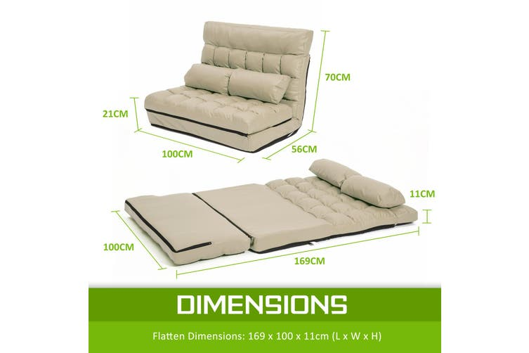 Leather Lounge Sofa Double Bed GEMINI - BEIGE