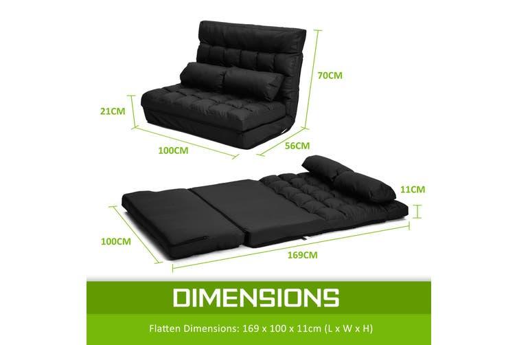 Leather Lounge Sofa Double Bed GEMINI - BLACK