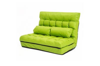 Leather Lounge Sofa Double Bed GEMINI - GREEN