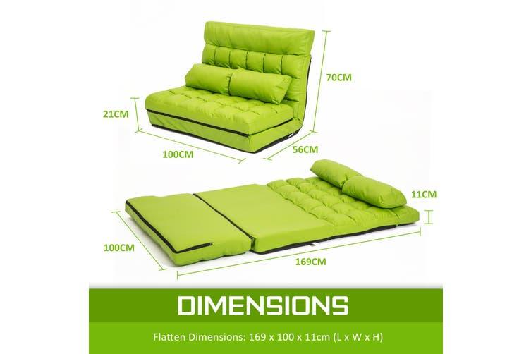 Leather Lounge Sofa Double Bed GEMINI - GREEN