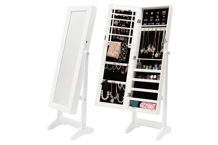 146cm Mirror Jewellery Cabinet LUVO - WHITE