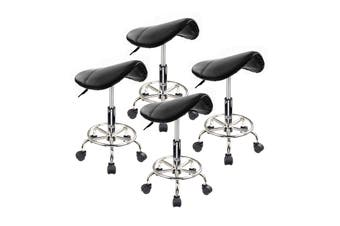 4X Saddle Salon Stool - BLACK