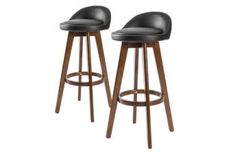 2X 72cm Oak Wood Bar Stool Leather LEILA - BLACK BROWN