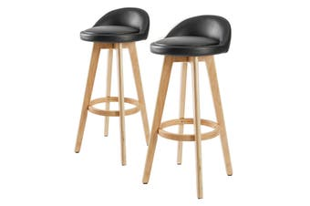 2X 72cm Oak Wood Bar Stool Leather LEILA - BLACK