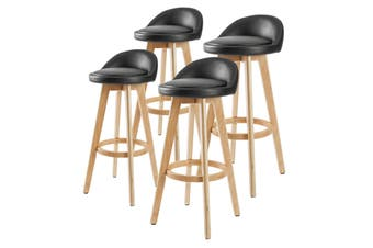 4X 72cm Oak Wood Bar Stool Leather LEILA - BLACK