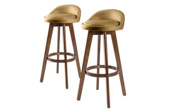 2X 72cm Oak Wood Bar Stool Leather LEILA - COFFEE BROWN
