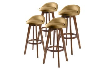 4X 72cm Oak Wood Bar Stool Leather LEILA - COFFEE BROWN