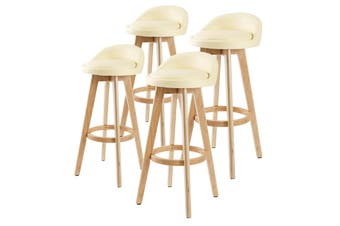 4X 72cm Oak Wood Bar Stool Leather LEILA - CREAM
