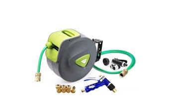 30M Garden Water Hose Reel + Brass Gun