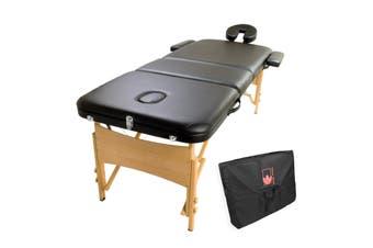 70cm Wooden Portable Massage Table - BLACK