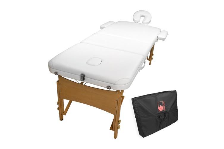 70cm Wooden Portable Massage Table - WHITE