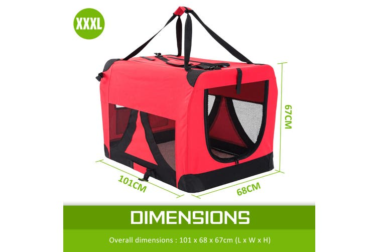 XXXL Portable Soft Dog Crate - RED