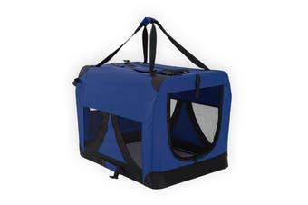 L Portable Soft Dog Crate - BLUE