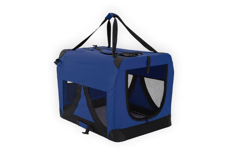 L Portable Soft Dog Crate - BLUE