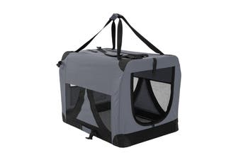 L Portable Soft Dog Crate - GREY