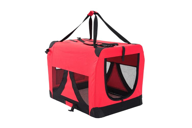 L Portable Soft Dog Crate - RED