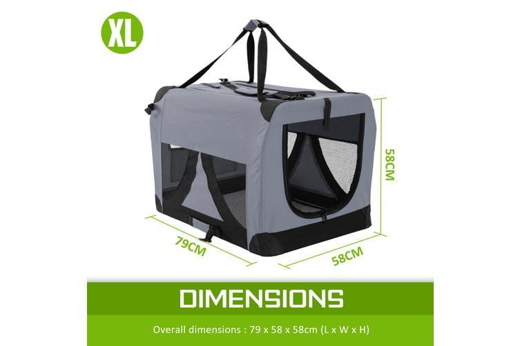 XL Portable Soft Dog Crate - GREY