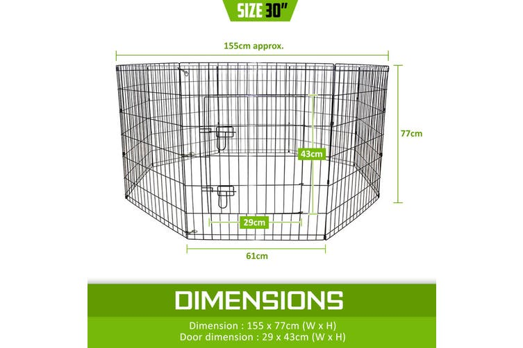 "30"" 8 Panel Foldable Pet Playpen"