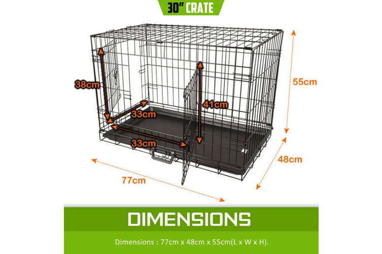 "30"" Foldable Wire Dog Cage with Tray"