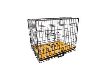 "24"" Foldable Wire Dog Cage with Tray + Cushion Mat"