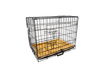 "30"" Foldable Wire Dog Cage with Tray + Cushion Mat"