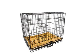 "42"" Foldable Wire Dog Cage with Tray + Cushion Mat"