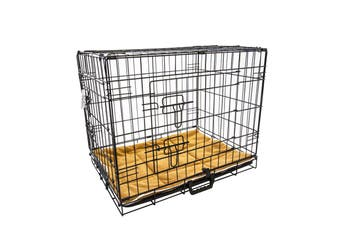 "48"" Foldable Wire Dog Cage with Tray + Cushion Mat"