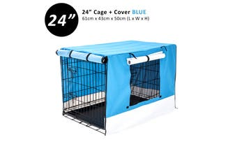 "24"" Foldable Wire Dog Cage with Tray + BLUE Cover"
